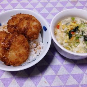 お家で、ヒレかつソース丼 「ニチレイ冷凍食品」&マルちゃんFD野菜スープ!  200410
