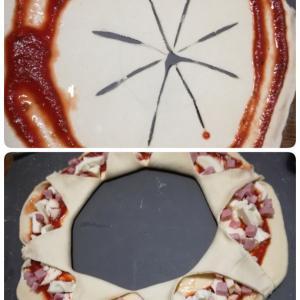 汚料理リース・ピザ★梨とチョコのケーキのレシピメモ