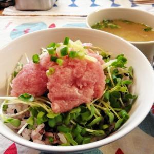 たっぷり薬味のまぐろすきみ丼 と キャベツと豚バラ炒め。