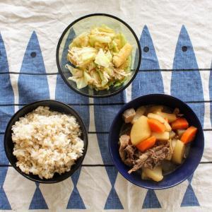 牛肉と大根の煮もの と お揚げとキャベツの梅おかかあえ。