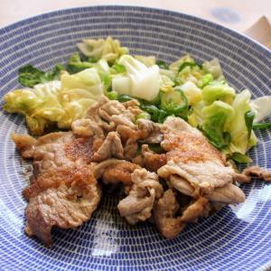 豚肉と明太子ソース と 豆腐とトマトのさっぱりサラダ。