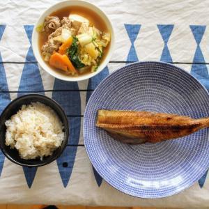 しまほっけの干物 と あっさり肉豆腐。