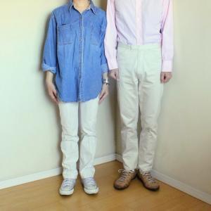 デニムシャツと夫婦揃っての白パン。