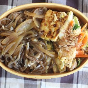 牛丼 と ウインナーと豆腐のチャンプルー。