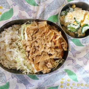 豆腐ステーキのきのこそぼろあん と 明太ポテトサラダ。