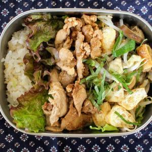 豚肉のはちみつ味噌漬け焼き と 蒸しなすとお揚げのごまドレッシング。