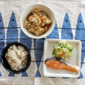さけの塩焼き と 焼きちくわとごぼうの柳川風/白菜とみつばのおひたし。