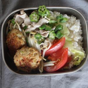 冷やし豚しゃぶとトマトのごまドレッシングがけ と 豆腐野菜バーグ。