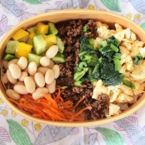 牛そぼろ三色丼 と がんもと野菜のおかず汁。