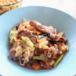 牛肉と春雨の炒り煮 と ちくわとたたき胡瓜の香味マヨあえ。