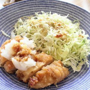 チキンおろし竜田 と くずし豆腐のあえもの/ごぼうの土佐煮。