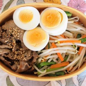 焼き肉ビビンバ と 冷やしワンタン/チンゲン菜とえのきのスープ。