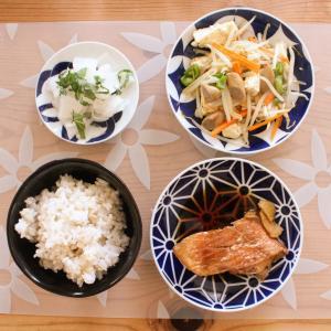 赤魚の煮付け と 豆腐のチャンプルー/しそ香漬け。