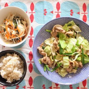 豚肉と野菜のスタミナ炒め と くずし豆腐のさっぱりあえ。