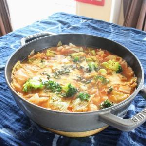 あったか鍋シリーズ2020その3。コラーゲンスープのトマトチーズ鍋。