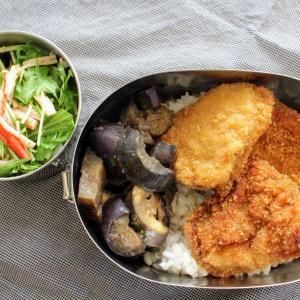 新潟名物 タレカツ丼 と 切干大根のごまポン酢和え/なすのレンジみそ煮。