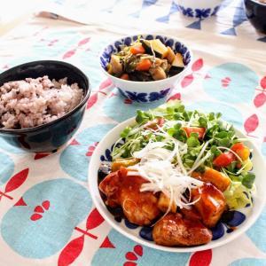 黒酢ソースの鶏竜田 と 刻み昆布の煮もの。