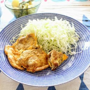 ポークピカタ と フレッシュトマトのスープ/ポテトとアスパラのマヨマスタード添え。