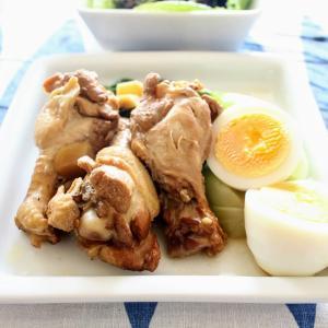 鶏手羽元と卵のさっぱり煮 と ひじきのシャキシャキあえ/豆腐とオクラのみそ汁。
