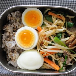にらたっぷり牛肉チャプチェ と ささみと野菜のスープ。