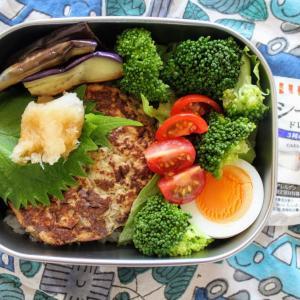 おろしハンバーグ と 卵とブロッコリーのシーザーサラダ。