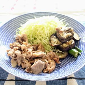 豚肉の梅照り焼き~夏野菜添え~ と 春雨サラダ。