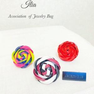 【ジュエリーバッグ】レッスン作品★テープで作るお花可愛くアレンジして