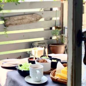 ベランダカフェ*お花見ブランチ*