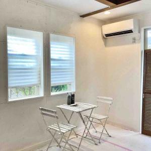 新居リノベ~窓側の壁+エアコン付きました*