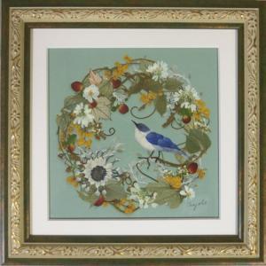 青い鳥のリース、ミントグリーン