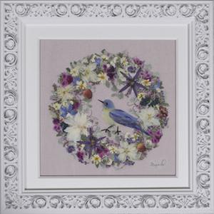 青い鳥のリース 12作目は秋色ピンク