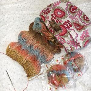 ブリオッシュ編みストール途中