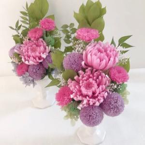 夏のお仏花はプリザーブドフラワーで