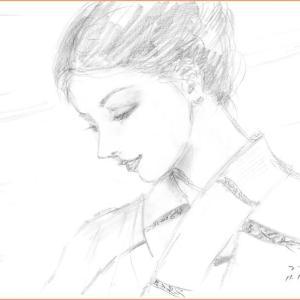鉛筆ラフ「秋の日の」