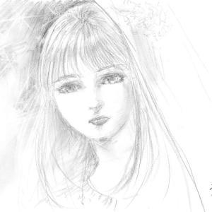 鉛筆ラフ「星降る夜の物語」