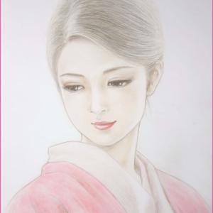 ★美人画「千里」彩色中です。