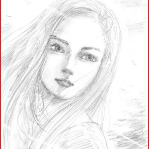 美人画ラフ「determination」