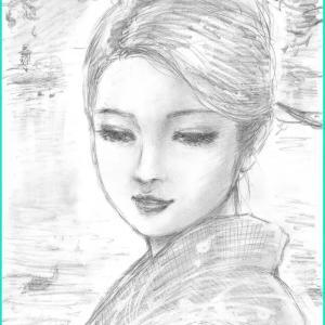 美人画ラフ 「水の如く」