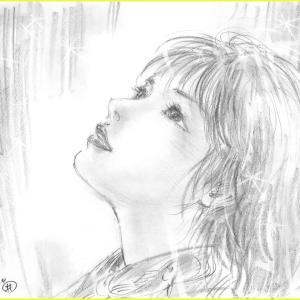 美人画ラフ「明日を信じて」
