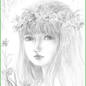 美人画ラフ「森の少女:Girl in the forest」