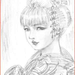 美人画ラフ「金色の舞姫」