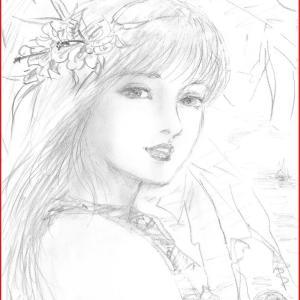 美人画ラフ「楽園の花嫁」他