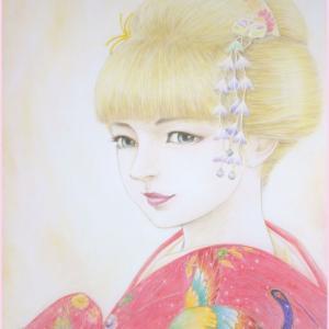 井手晴海の美人画『金色の舞姫』ほぼ完成。