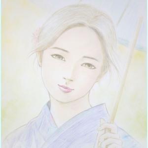 井手晴海の美人画「暑中お見舞」 ほぼ完成