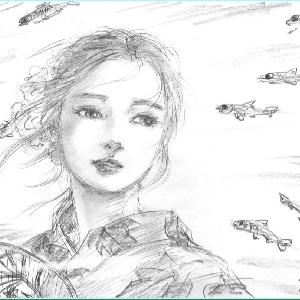 美人画ラフ「夏川に煌めく」
