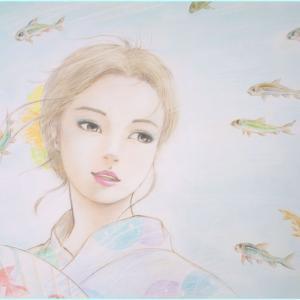 井手晴海の美人画「夏川の煌めき」