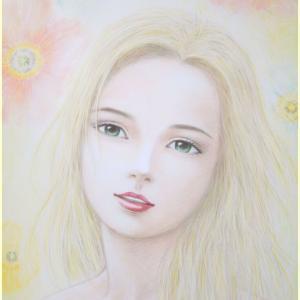 井手晴海の美人画「夢見るアルシア」 ほぼ完成
