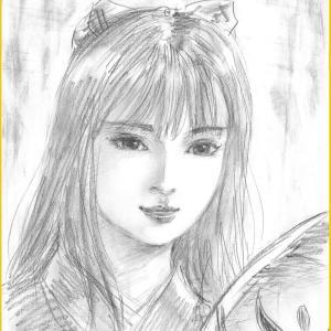 美人画ラフ「天狐と申します」