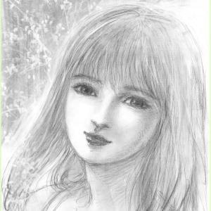 美人画ラフ「ロザリオの祈り」