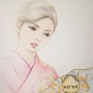 井手晴海の美人画「花の舞」
